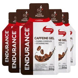 Kit 5 Endurance Caffeine Gel Vitafor Caixa 12 sachês Mocha