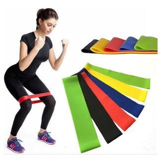 Kit 5 Faixas Elásticas Thera Mini Band Pilates Fisioterapia