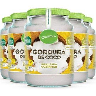 Kit 5 Gordura de coco pote Qualicôco 400g