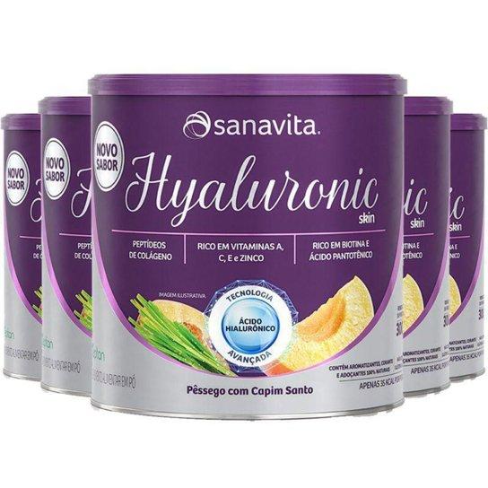 Kit 5 Hyaluronic Skin Ácido Hialurônico + Colágeno Sanavita Pêssego 300g -