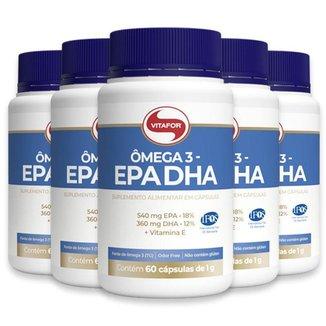 Kit 5 Ômega 3 EPA DHA 1000mg Vitafor 60 cápsulas