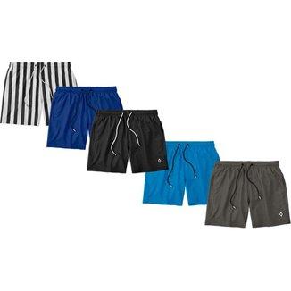 Kit 5 Shorts Bermudas Liso Lisa Masculino Tactel Básico Moda Básica