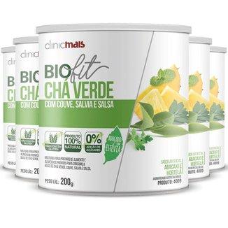 Kit 5 Solúvel Biofit Chá Verde Adoçado com Estévia 200g Clinicmais
