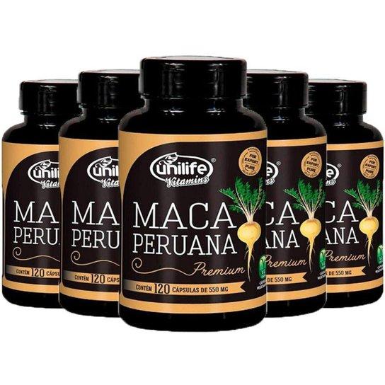 Kit 5 X Maca Peruana Premium 120 Cápsulas Unilife -