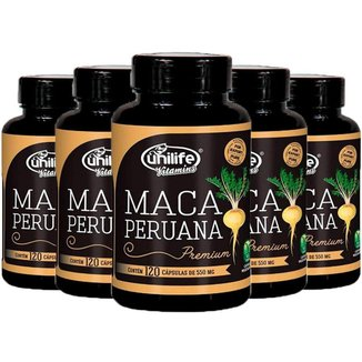 Kit 5 X Maca Peruana Premium 120 Cápsulas Unilife