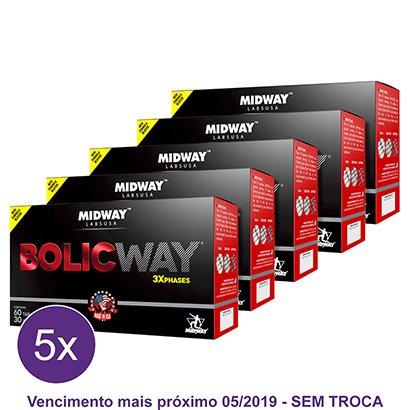 Kit 5x Bolic Way 60 Tabs + 30 Cáps. – BCAA + Cafeína + Creatina – Midway