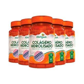 Kit 5x Colágeno Hidrolisado com Vitamina C  60 Cápsulas - Katigua