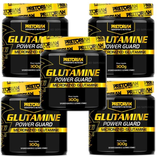 Kit 5x Glutamina Com Vitamina C 300g Pretorian -