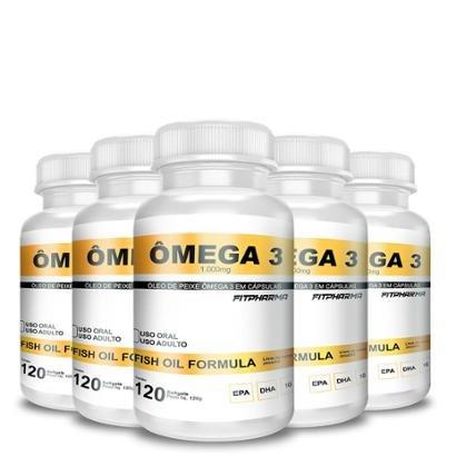 Kit 5x Ômega 3 Fish Oil 1000Mg 120 Capsgel - FITPHARMA