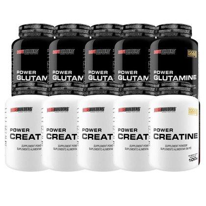 KIT 5x Power Glutamina 100g + 5x Power Creatina 100g - BodyBuilders