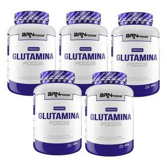 KIT 5x PREMIUM Glutamina 100g - BRN Foods