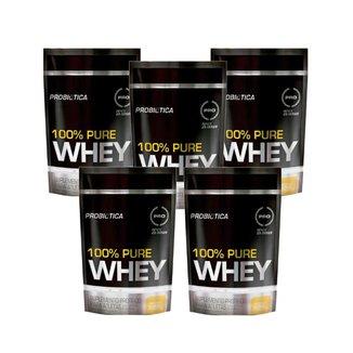 Kit 5x Whey Protein 100% Pure Whey Probiótica Refil 825g