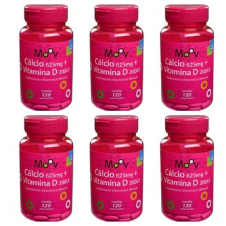 Kit 6 Cálcio 625mg + Vitaminas A + B6 + D + E 120 Comp.