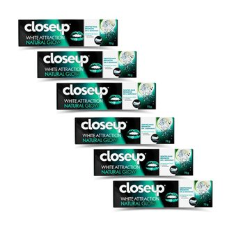 Kit 6 Géis Dental Close Up Natural Glow Coco Fresh White Attraction 70g