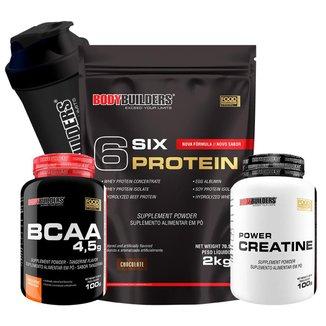 Kit 6 Six Protein 2kg Baunilha + BCAA 4,5 100g + 100% Creatine 100g + Coqueteleira – Bodybuilders