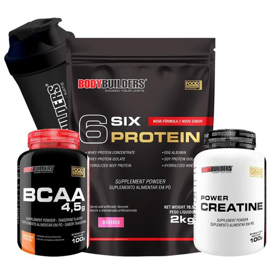 Kit 6 Six Protein 2kg Chocolate + BCAA 4,5 100g + 100% Creatine 100g + Coqueteleira – Bodybuilders -
