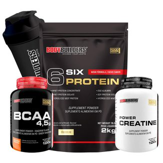 Kit 6 Six Protein 2kg Chocolate + BCAA 4,5 100g + 100% Creatine 100g + Coqueteleira – Bodybuilders
