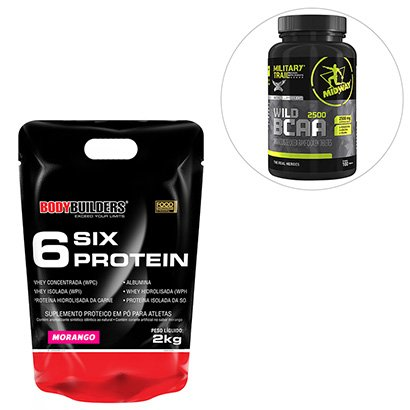 Kit 6 Six Protein Refil 2 Kg ? Bodybuilders + BCAA Wild 100 Tabs Military Trail ? Midway
