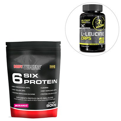 Kit 6 Six Protein Refil 900g ? Bodybuilders + BCAA L-Leucina 90 Cáps Military Trail – Midway USA
