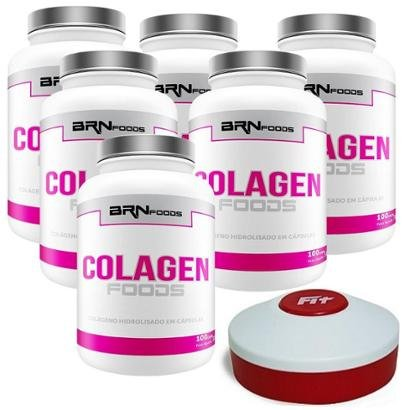 Kit 6x Colageno 100 cap + Porta Cap. - BRN FOODS - Unissex