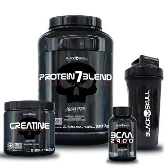 kit 7 Blend (Morango) 837g + Bcaa 100 tab + Creatina 150g + Coqueteleira 600ml