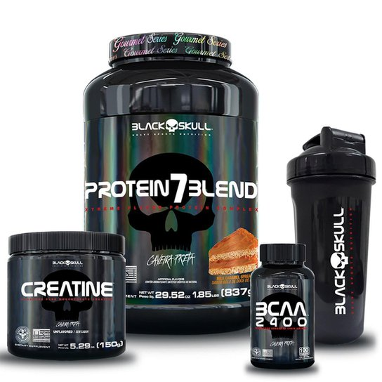 kit 7 Blend Gourmet 837g + Bcaa 100 tab + Creatina 150g + Coqueteleira 600ml -