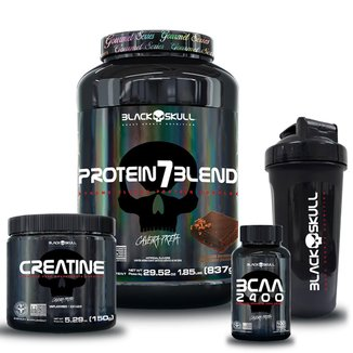 kit 7 Blend Gourmet 837g + Bcaa 100 tab + Creatina 150g + Coqueteleira 600ml