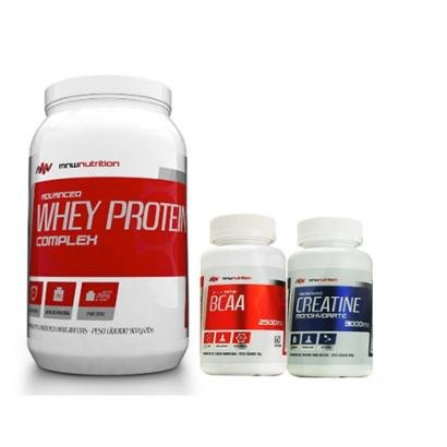 Kit Advanced Whey Protein Complex 900gr + BCAA 2500mg 60 cápsulas + Creatina 100gr – MNW Nutrition