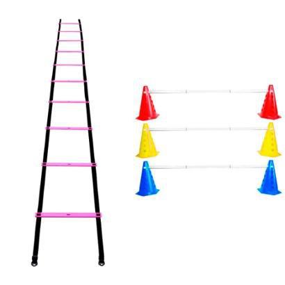 Kit Agilidade 20 Cones Barreira + Escada Treino Funcional - Unissex