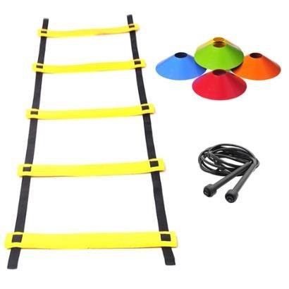 Kit Agilidade Escada EVA + 30 Chapeu Chines + Corda PVC - Unissex