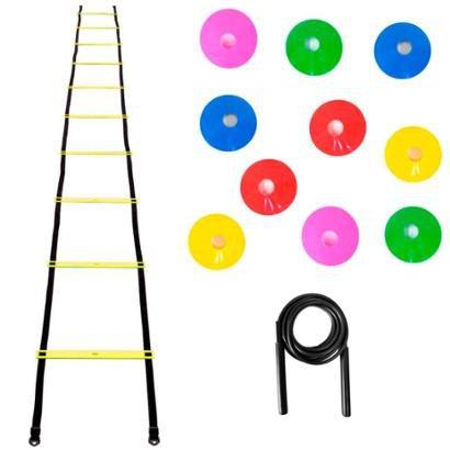 Kit Agilidade Escada Plastico + 25 Chapeu Chines + Corda PVC - Unissex