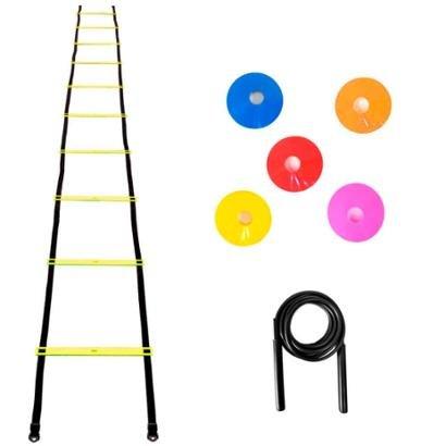 Kit Agilidade Escada Plastico + 5 Chapeu Chines + Corda PVC - Unissex