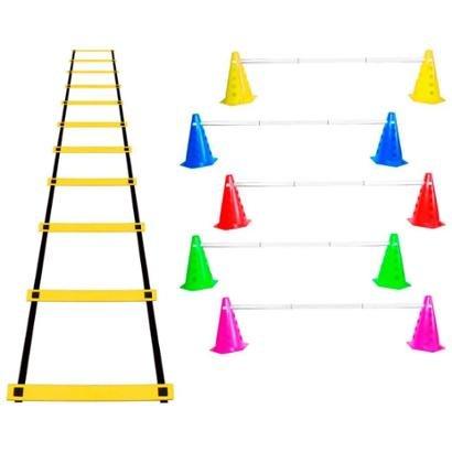 Kit Agilidade Funcional 12 Cones Barreira + Escada EVA - Unissex