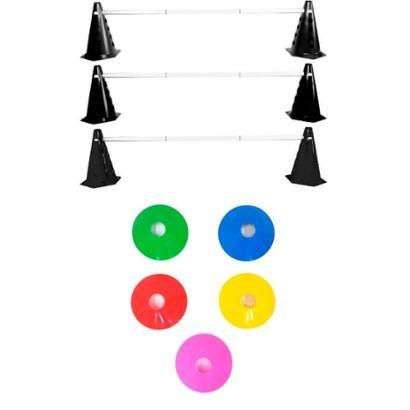 Kit Agilidade Funcional 22 Cones Barreira + 5 Chapeu Chines - Unissex