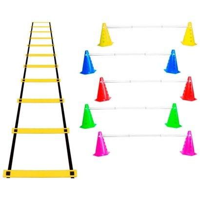 Kit Agilidade Funcional 26 Cones Barreira + Escada Nylon - Unissex