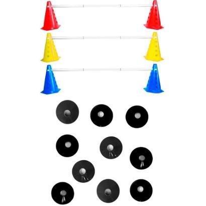 Kit Agilidade Funcional 28 Cones Barreira + 10 Chapeu Chines - Unissex