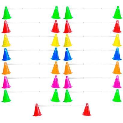 Kit Agilidade Treinamento Funcional 30 Cones Barreira Preto - Unissex