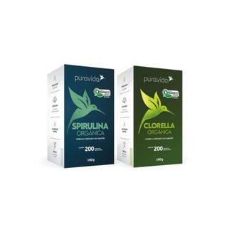 KIT ALGAS - Clorella Premium + Spirulina Premium - Pura Vida