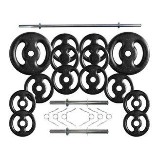 Kit Anilhas de Ferro 60 Kg + 2 Barras de 40cm + Barra de 150cm