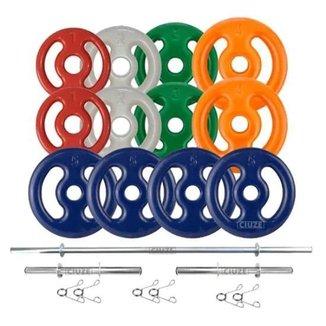 Kit Anilhas Emborrachadas 40 Kg + Barras 2x 40cm + 1x 1.50m
