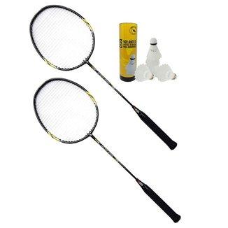 Kit badminton profissional c/ 2 raquetes + 6 petecas nylon