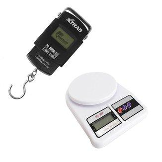 Kit Balança Xtrad Gancho Digital Portátil 50 kg Peixe Viagem e Balança de Cozinha