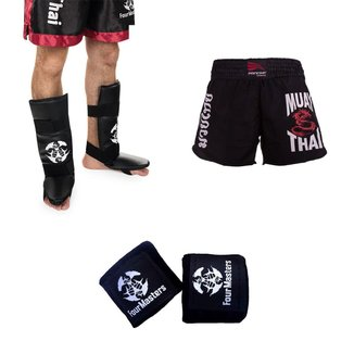 Kit Bandagem elástica + Caneleira MMA Boxe + Short Muay Thai Feminino