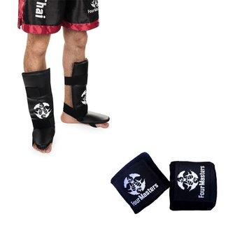 Kit Bandagem Elástica Luta + Caneleira Treino MMA Muay Thai Boxe