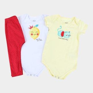 Kit Bebê Elian Body + Calça Frutinhas 3 Peças Feminino