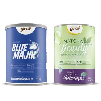 Kit Beleza Diária Giroil com 1 Blue Majik + 1 Matchá Beauty de 210g Cada