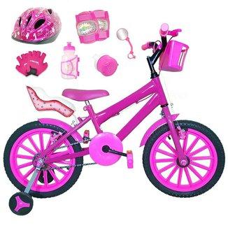 Kit Bicicleta Infantil Aro 16 FlexBikes C/ Cadeirinha de Boneca, Capacete, Kit Proteção e Acessórios