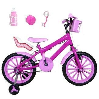 Kit Bicicleta Infantil Aro 16 FlexBikes C/ Cadeirinha Para Boneca e Acessórios