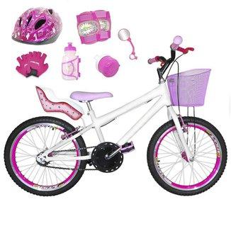 Kit Bicicleta Infantil Aro 20 FlexBikes C/ Cadeirinha de Boneca, Capacete, Kit Proteção e Acessórios