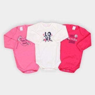 Kit Body Bebê Petutinha Manga Longa Florzinhas 3 Peças Feminino